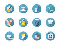 Blaue runde Ikonen der Hausarbeit eingestellt Stockfotografie