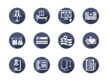Blaue runde Ikonen der medizinischen Klinik eingestellt Lizenzfreies Stockbild