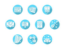 Blaue runde Ikonen der Valentinsgruß-Tagespartei Lizenzfreie Stockfotografie