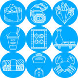 Blaue runde Ikonen des japanischen Lebensmittels Lizenzfreies Stockbild