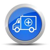 Blaue runde Knopfillustration der Krankenwagenikone lizenzfreie abbildung