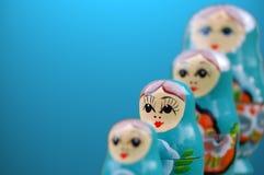 Blaue russische Puppen Lizenzfreies Stockfoto