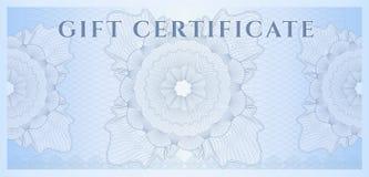 Blaue Schablone des Geschenkgutscheins (Beleg). Muster Lizenzfreies Stockbild