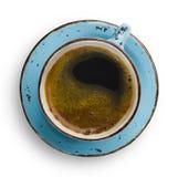 Blaue Schale der Weinlese mit dem Kaffee und Untertasse lokalisiert auf Weiß lizenzfreies stockbild