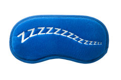 Blaue Schlafmaske mit Zeichen zzzzz Lizenzfreie Stockbilder