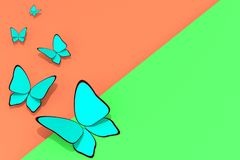 Blaue Schmetterlinge auf grünem orange Hintergrund mit Kopienraum-Saison-Illustration 3D stockbilder