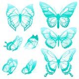 Blaue Schmetterlinge, Satz Lizenzfreie Stockfotos
