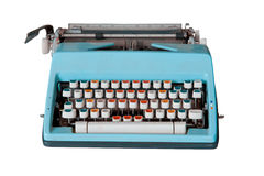 Blaue schmutzige Retro- Schreibmaschine mit Ausschnittspfad Stockbild