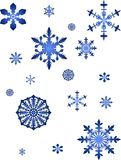 Blaue Schneeflockeansammlung Stockfotos