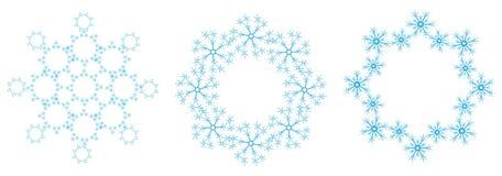 Blaue Schneeflocken auf einem weißen Hintergrund Stockbild