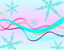Blaue Schneeflocken und Farbbänder Stockbild