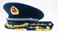 Blaue Schutzkappe der chinesischen Luftwaffe Stockbild
