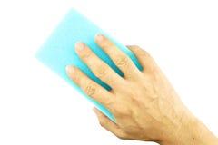 Blaue Schwammreinigung des Handgriffs Stockbild