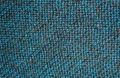 Blaue schwarze Wollfaden im Gewebedekor lizenzfreie stockfotografie