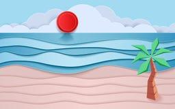 Blaue See- und Strandpapierwellen mit Kokosnuss und Sonne Papierschnittart Lizenzfreie Stockfotografie