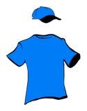 Blaue Shirt- und Schutzkappenauslegung stockbild