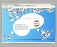 Blaue Site-Schablone mit Vögeln Stockfoto