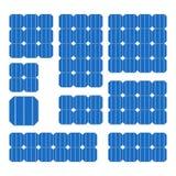 Blaue Solarzellen-Platte eingestellt auf weißen Hintergrund Vektor Stockbild
