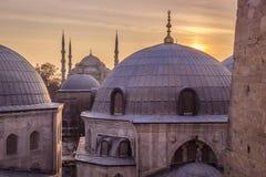 Blaue Sonnenuntergang-Ansicht Moscheen-Istanbuls die Türkei Stockfoto