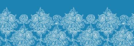 Blaue Spitze blüht horizontales nahtloses Muster Stockfotografie