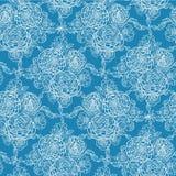 Blaue Spitze blüht nahtlosen Musterhintergrund Stockbilder