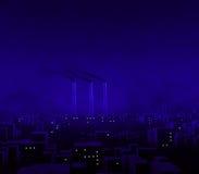 Blaue Stadt-Nacht lizenzfreie abbildung