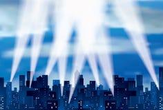 Blaue Stadtleuchten Stockbild