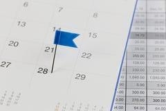 Blaue Stifte zu den Wildkatzen auf dem Kalender neben der Zahl von twent Lizenzfreies Stockfoto