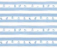 Blaue Streifen mit Ankern auf Weißbuch des Aquarells Handgemaltes nahtloses Muster Lizenzfreie Stockfotografie