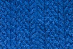 Blaue strickende Beschaffenheit Lizenzfreie Stockfotografie