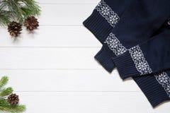 Blaue Strickjacke mit Weihnachtsverzierung, Niederlassungen der Tanne drei und Betrug lizenzfreie stockbilder