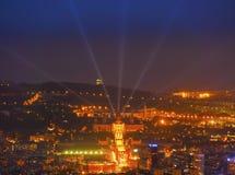 Blaue Stunde in Barcelona stockbilder
