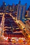 Blaue Stunde in Singapur Chinatown Stockbild