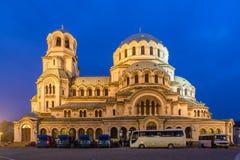 Blaue Stunde Sofia-Kathedralenseite lizenzfreie stockfotos