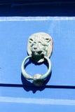 Blaue Tür - der Kopf des Löwes Lizenzfreie Stockbilder