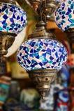 Blaue türkische Mosaiklaternen Stockbild