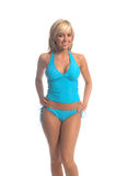 Blaue Tankini Blondine Stockfoto