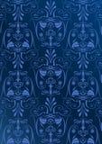 Blaue Tapete mit Arabesken Lizenzfreies Stockfoto