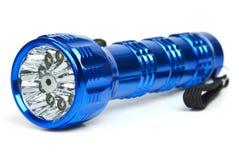 Blaue Taschenlampe des Metall LED lizenzfreie stockfotografie