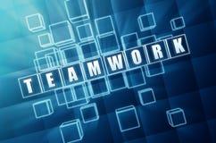 idee team plan ziel in den blauen glasbl cken