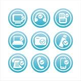 Blaue Technologie mit Checkzeichen Stockfoto