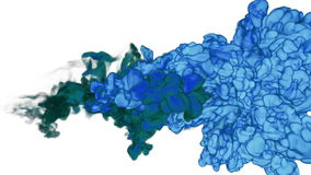 Blaue Tinte oder Rauch für Effekt und das Compositing VFX-Tinte bewölkt sich oder Rauch mit Alphamaske Superzeitlupeschussnahaufn stock abbildung