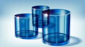 Blaue transparente Gläser Stockbild