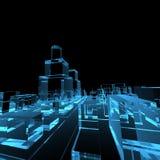 Blaue transparente glühende Stadt Stockfotografie