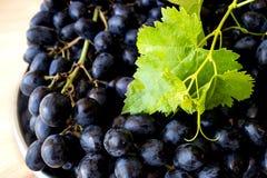 Blaue Trauben auf einem Silbertablett Sommer Stockfotos