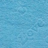 Blaue Tuch-Beschaffenheit mit Liebes-Text Lizenzfreies Stockfoto