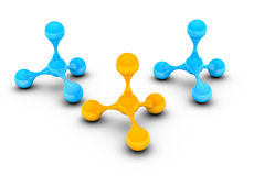 Blaue und gelbe Atome auf weißem Hintergrund stockfoto