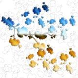 Blaue und gelbe Blumen des nahtlosen Musters des Aquarells auf einem weißen Ñ- ontour Hintergrund Stockbild