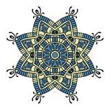 Blaue und gelbe Blumenmandala lizenzfreie abbildung