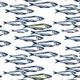 Blaue und gelbe Farbe des Handgezogenen nahtlosen Marinemusters ein Gruppe nahtlose atlantische Makrelenfische des Musters auf we stock abbildung